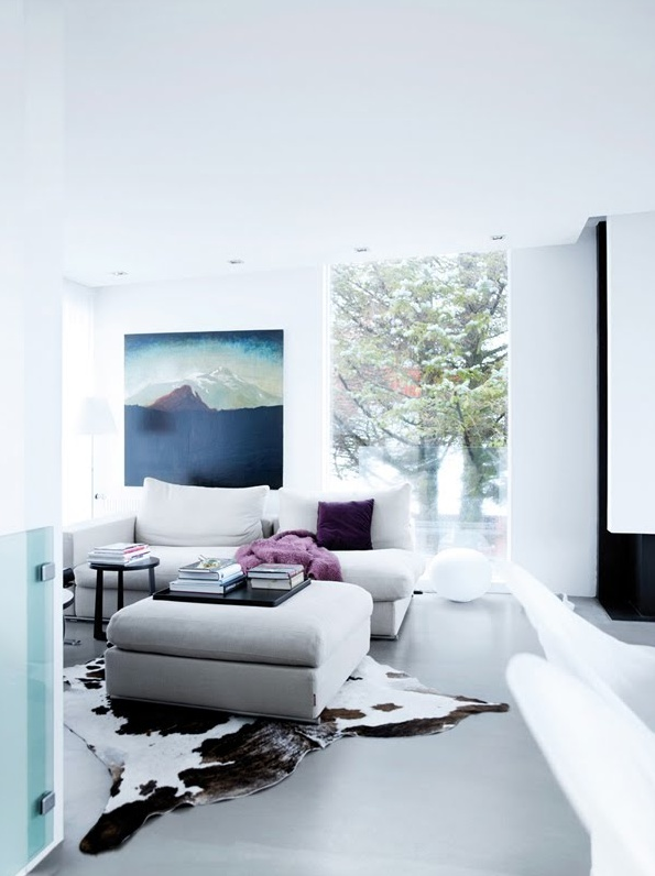 bright and white living...: Living Rooms, Inspiration, Interiors Design, Cowhide Rugs, Cars Girls, House, Colour Palettes, Concrete Floors, Girls Style