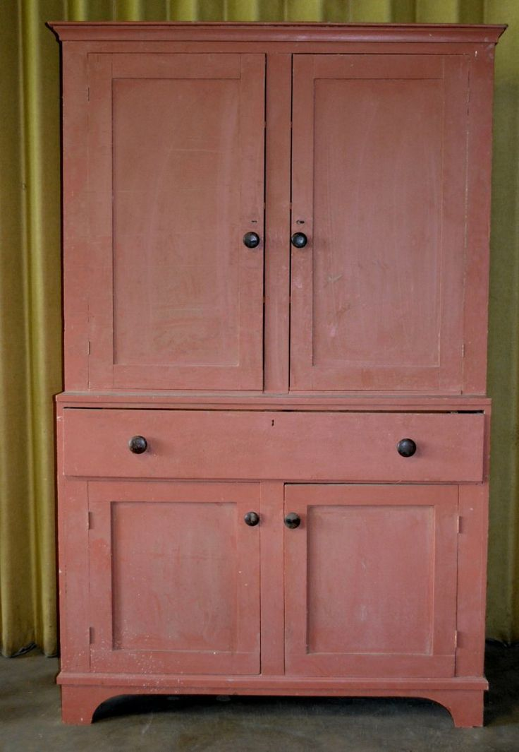 Large country step-back cupboard having 2 doors over large drawer over 2 doors - & 466 best Primitive Cupboards images on Pinterest | Cupboards ... pezcame.com