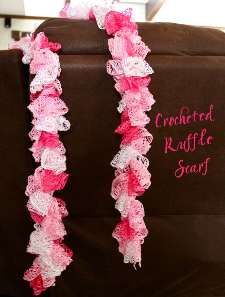 Crocheted Ruffle Scarf  That's right- crocheted not knitted