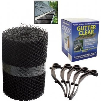 Gutter clear keeps your gutters free from blockages caused by leaves, twigs, moss and falling debris. It's easy to install using the fixing clips provided.    It works well with all gutters up to 15cm wide and can be cut to fit your gutters.    This pack includes 6M of mesh measuring 16cm and snap on gutter clips