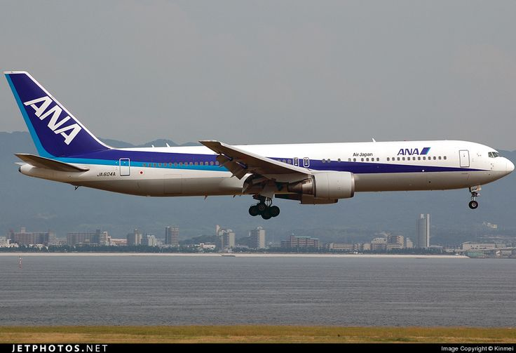 ANA Airways (All Nippon Airways) (JP) Boeing 767-381(ER) JA604A aircraft, with the sticker ''Air Japan'' on the fuselage, on short final to Japan, Osaka Kansai Int'l Airport. 17/06/2010.