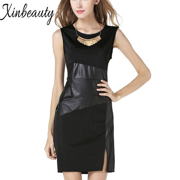 Find More Dresses Information about Plus Size 2016 Summer Sexy Black Casual Club Vinyl Patchwork Dress Slit On The Side Hot Vestidos  Mini Bodycon  Dress W860706,High Quality dress ornament,China dress holder Suppliers, Cheap dress for bride mother from Online Store 703477 on Aliexpress.com