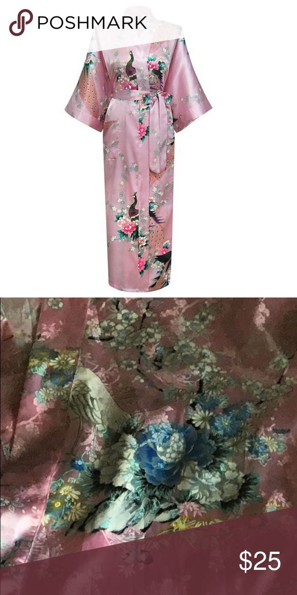 🚨🎉LAST DAY SALE 👘Pink Japanese Robe Pink Japanese robe. Looks like first picture but the pattern is the one in the second picture. No peacocks just birds that are light blue. Tags: Japanese robe light pink blue birds comfy Mother's Day Intimates & Sleepwear Robes