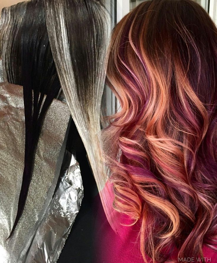 Beautiful copper and plum hair balayage Beauty: Fantasy Unicorn Purple Violet Red Cherry Pink