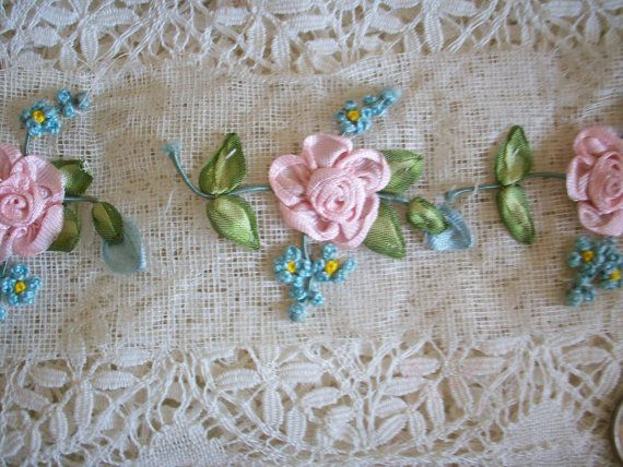 1 Exquisite french antique Ribbon work flower by TextileArtLace, $95.00