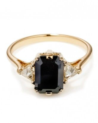 "Anna Sheffield Emerald cut black diamond ""Bea"" ring with inverted white diamond trillions set in 14k yellow gold"