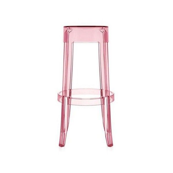 Kartell Charles Ghost Stool, Pink - Closeout found on Polyvore featuring home, furniture, stools, pink, outdoor counter height stools, kartell stool, plastic bar stools, ghost stool and outdoor barstools