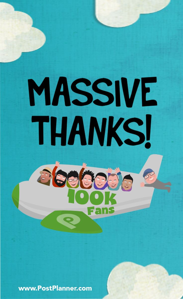 We just passed 100k fans on Facebook and want to say THANK YOU! Join us on our page for exciting news you won't want to miss: https://www.facebook.com/postplanner