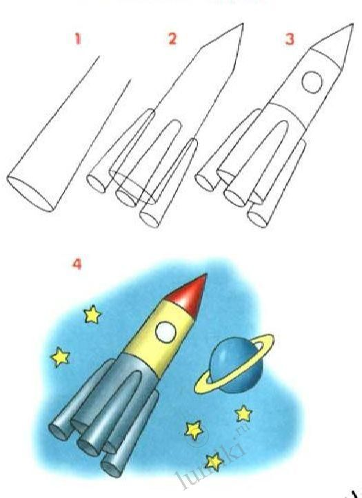 Pictures for children to draw. Paint a Rocket - step by step drawing for kids