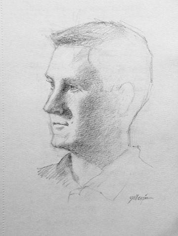 """Impromptu Portrait by Michael Gillespie Pencil ~ 7"""" x 5"""""""