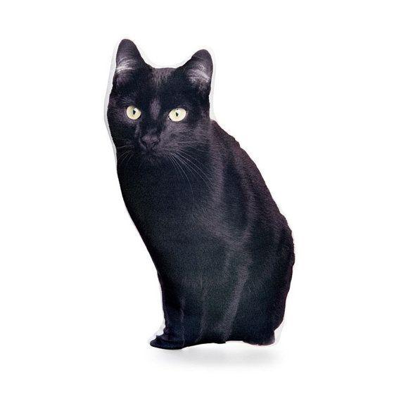 Bombay Cat Pillow Cat Cushion Black Cat Decor Black Cat