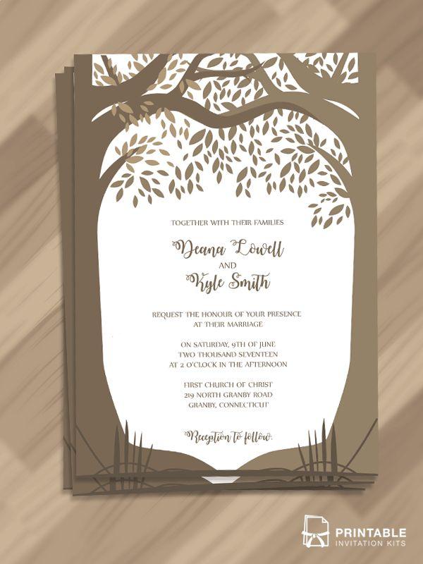 Free Editable And Printable Pdf Wedding Invitation Template Woods Fall Wedding Printable