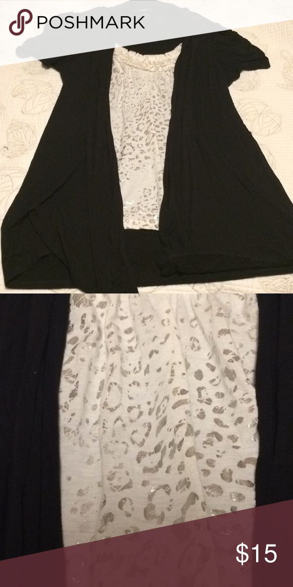 Black and White top Yes ladies that's a leopard print in silver on this top.  So gorgeous Tank is sew into top with cardigan effect. Size Med Rayon/Spandex blend AGB Tops Tees - Short Sleeve