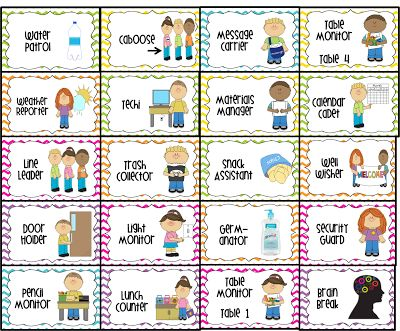 Free Preschool Job Chart Pictures | water patrol (2), caboose, message carrier, table monitor 1-4, weather ...