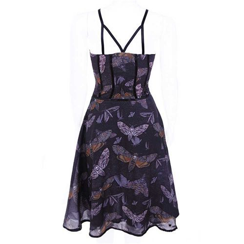 Moth jurk met motten print donker paars - Gothic fantasy - S - Restyle