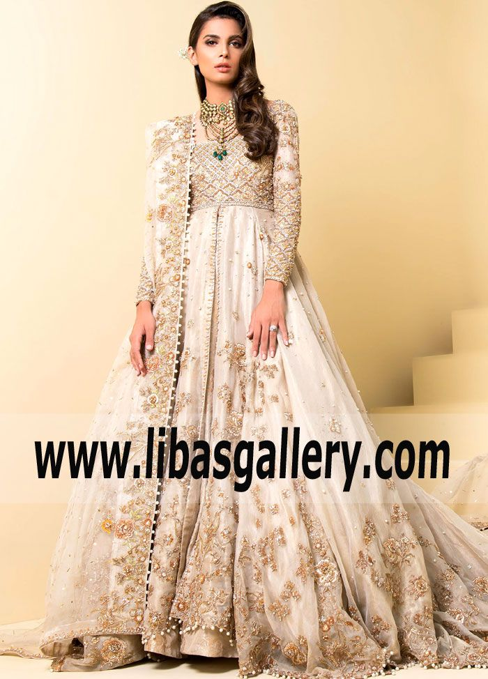2118c997d95 Pakistani Designer Long Gown with high slit by Sadaf Fawad Khan Germany