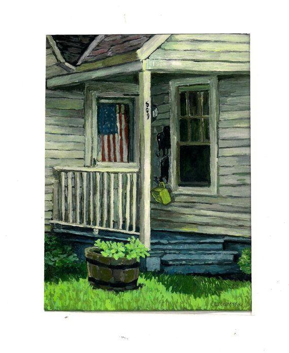 Toile impression acrylique peinture Fine Art giclée-Old house, drapeau américain, porche, « Bienvenue » sur Etsy,