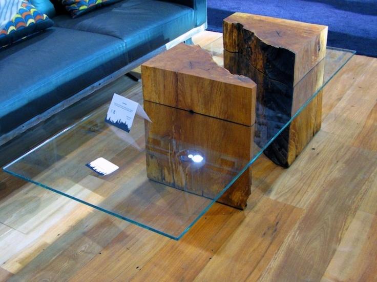 Chunky wood and glass coffee table