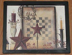 Primitive Country Checker Board Barn Star Berries Candles Wall Decor 9x 11 | eBay