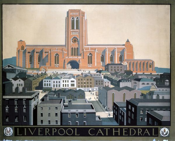 Liverpool Cathedral, LMS poster, c 1930s.Keith Ellerton.