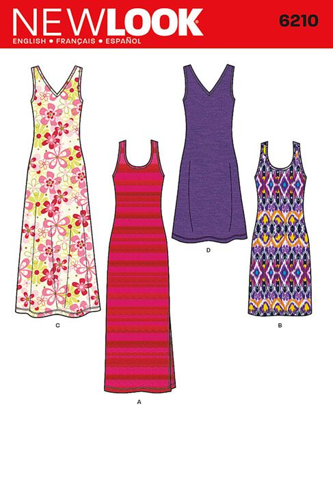 Misses Knit Dress in Two Lengths New Look Sewing Pattern No. 6210. Size 10-22.