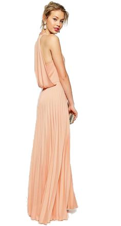 Peachy coral maxi dress for spring wedding guests