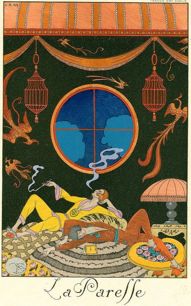 george barbier la paresse laziness 642x1024 George Barbier   Art Deco Fashion Illustration