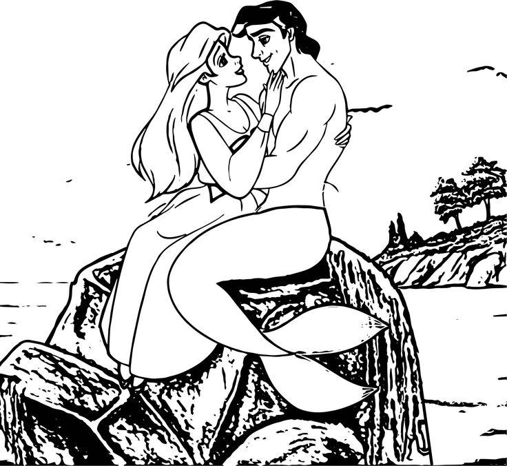 cool Ariel Mermaid Love On Stone Coloring Page Disney