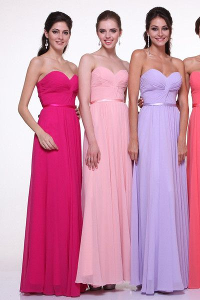 Elegant Floor Length Chiffon Long Bridesmaid Dress Gown All colors size 4 - 8