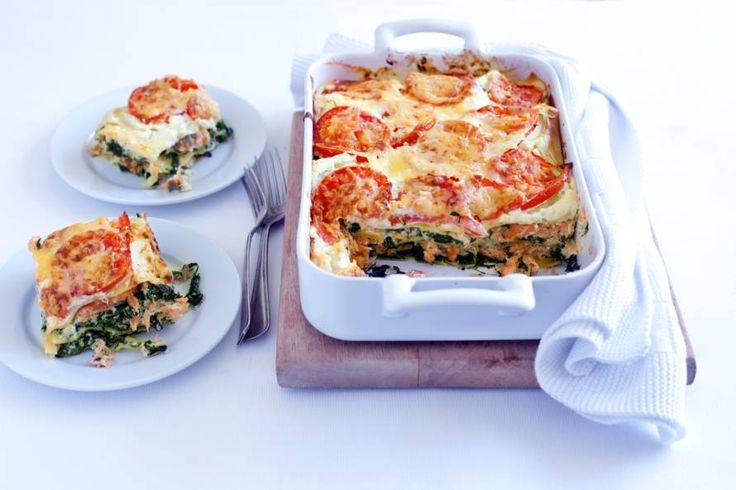 Kijk wat een lekker recept ik heb gevonden op Allerhande! Lasagne met ricotta, spinazie en gerookte zalm