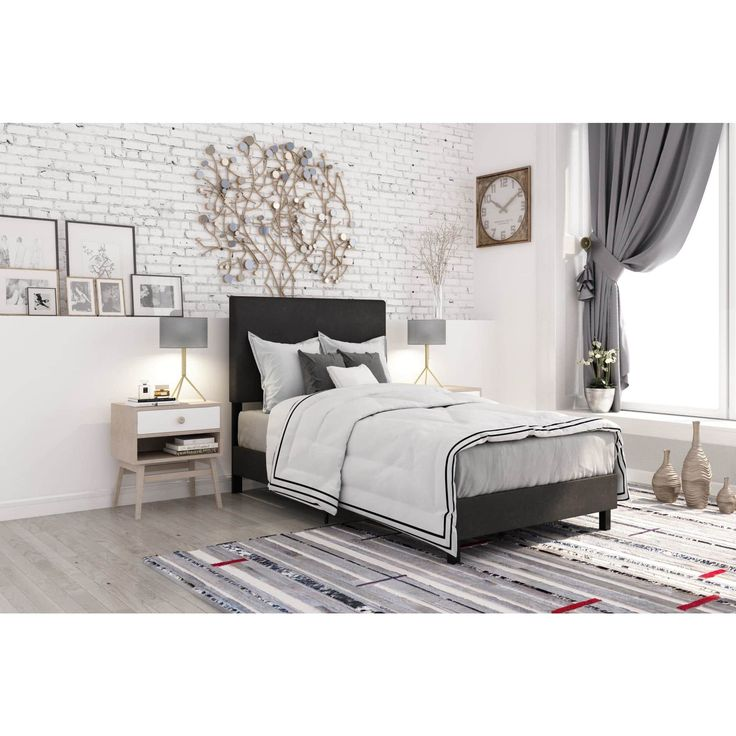 DHP Janford Upholstered Bed  Full  Black. The 25  best Black upholstered bed ideas on Pinterest   White