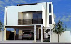 Fachada de casa contemporánea, moderna, lujosa y elegante