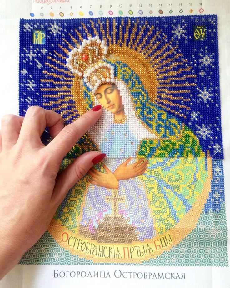 Богородица Остробрамская вышивка иконы бисером
