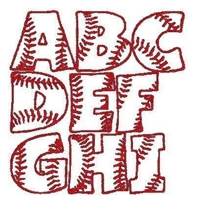 Baseball Font Machine Embroidery Monogram Set 4x4 Hoop. $2.75, via Etsy.