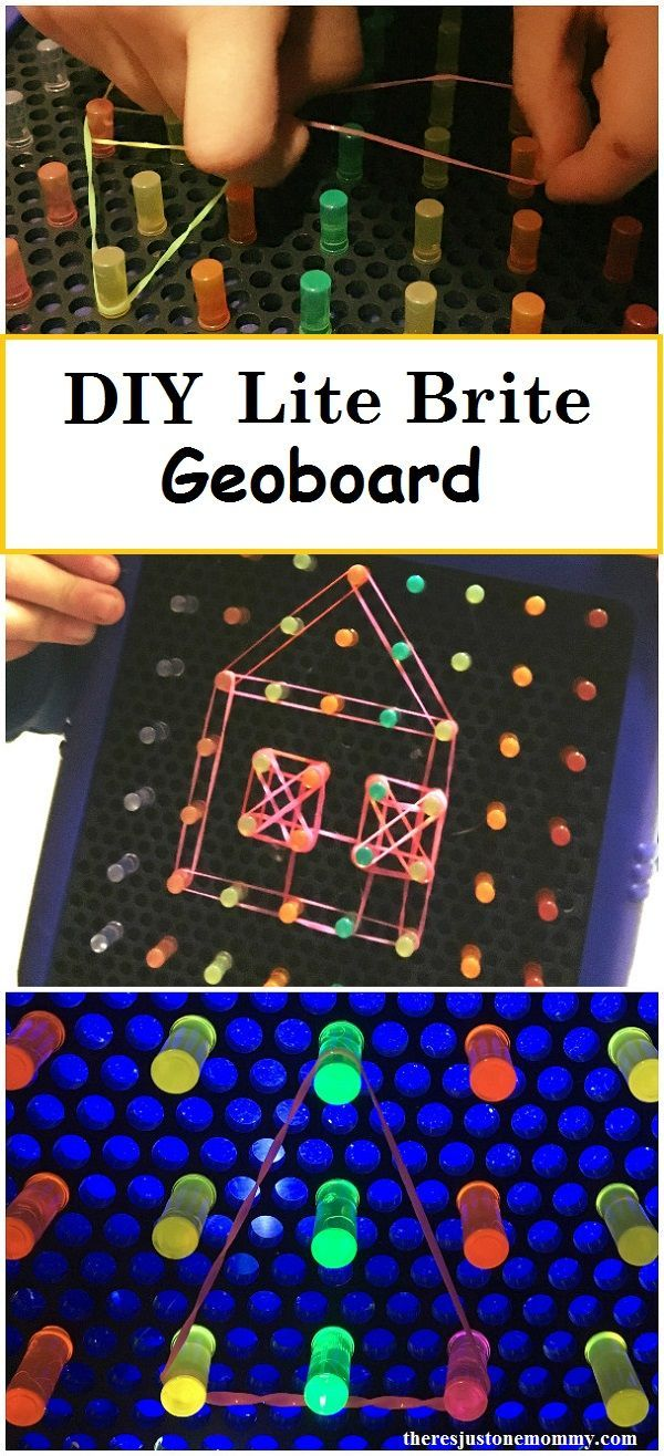 DIY Lite Brite geoboard: how to make a geoboard using a Lite Brite; great for fine motor and shape recognition, also great for STEM