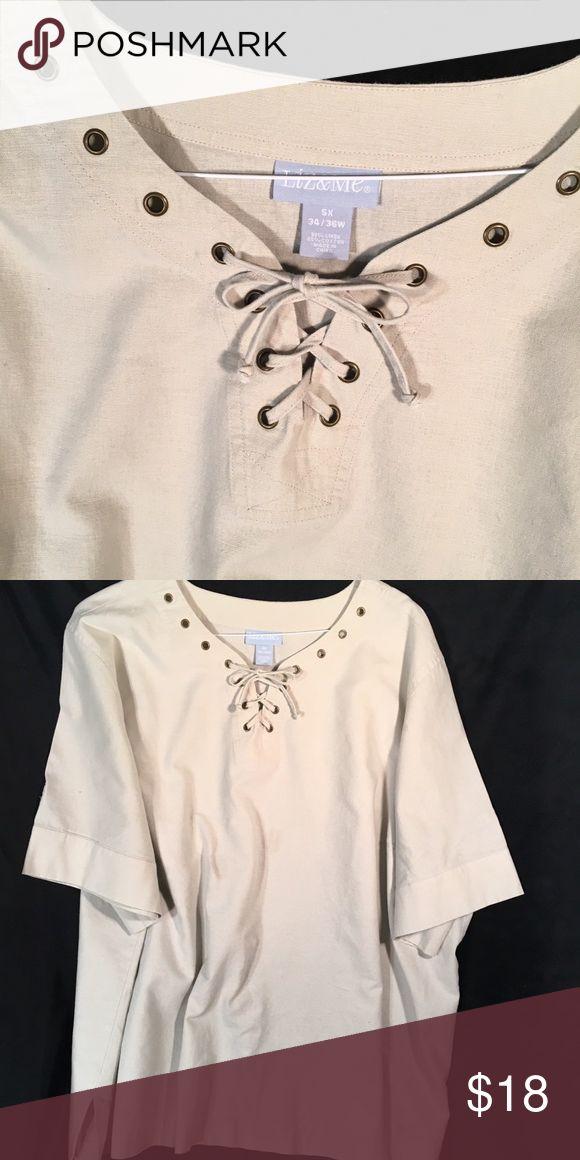 Liz & Me  linen & cotton  laced front.  Top  5 X Beige  short sleeve  pullover  …