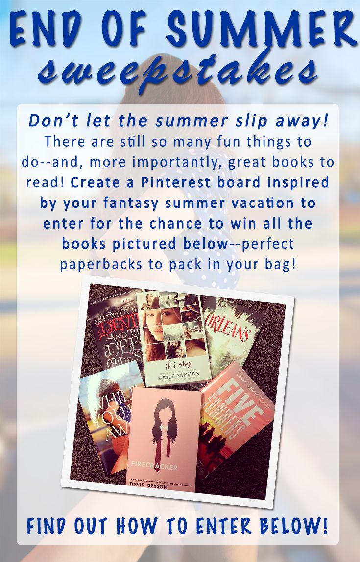 "No purchase necessary. US only, age 13 or older. Official rules: http://on.fb.me/VKLZZ3 How to Enter: 1. Follow Penguin Teen on Pinterest 2. Create a board titled ""Penguin Teen End of Summer Sweepstakes"" 3. Pin at least 1 summer vacation inspired pin to your End of Summer board 4. Use #SummerReads and #PenguinTeen in the description of each pin 5. Post the link to your board in the comments section of this pin 6. One winner will receive the pictured books."