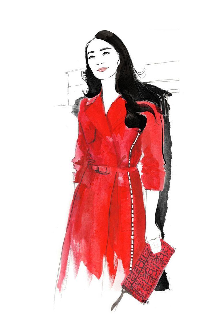 red valentino coat, illustration by Judit García-Talavera
