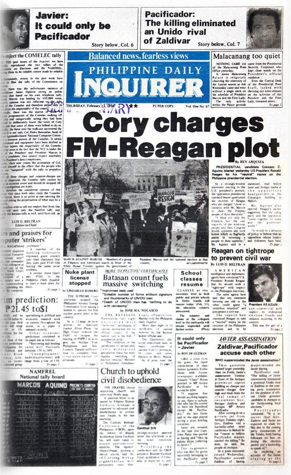 "Thursday, Feb. 13, 1986: ""Cory charges FM-Reagan plot "". About a week after the snap elections #INQBack #EDSA28 #history"