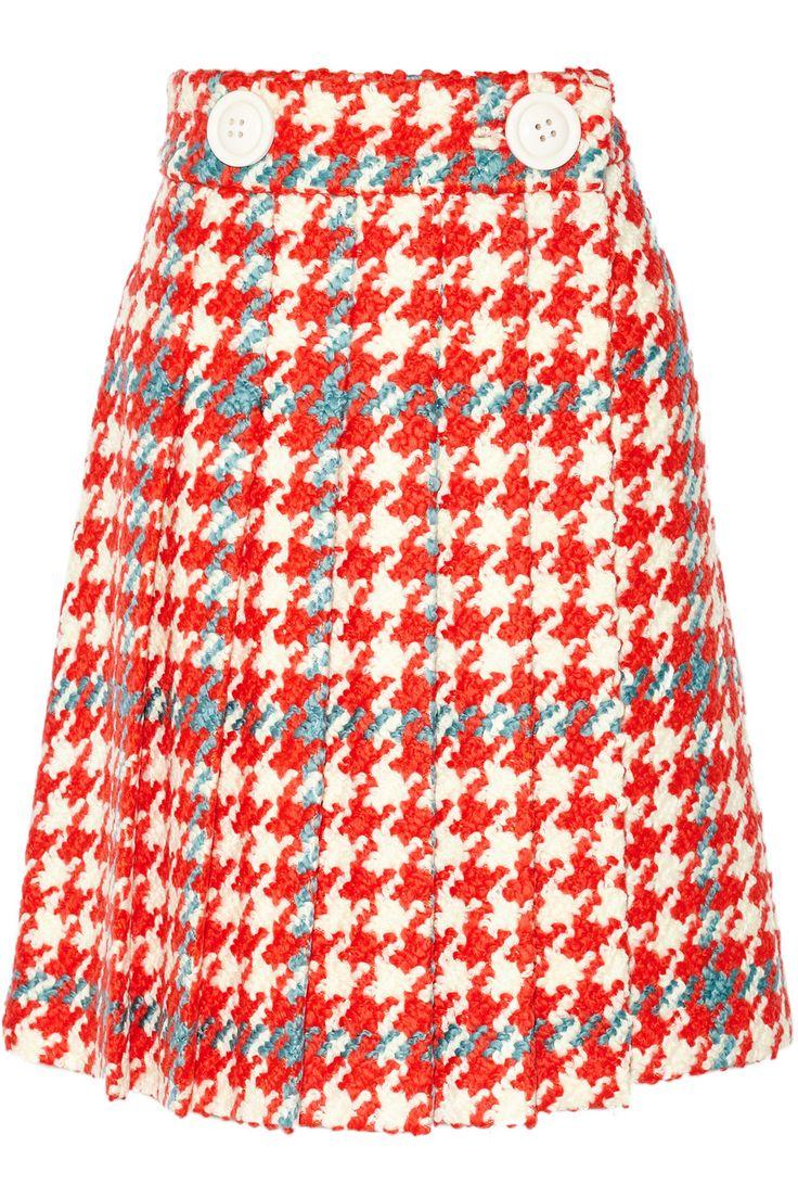 MIU MIU Pleated Houndstooth Wool And Cotton-Blend Bouclé-Tweed Skirt. #miumiu #cloth #skirt