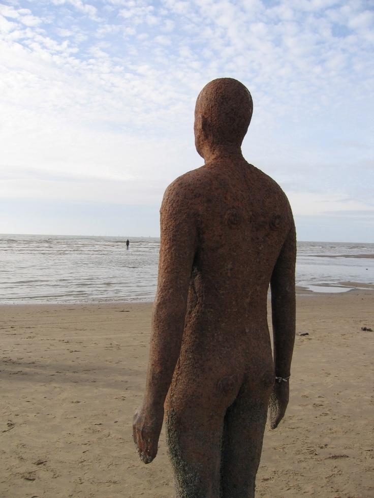 Anthony Gormley figure at Crosby Beach - seen them a few times, always love it.