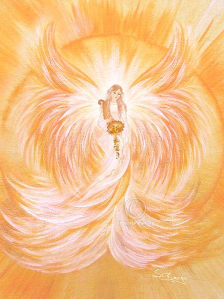 Pretty yellow and gold angel painting. Fortuna, der Engel der Fülle ~ღ~ Engelbild