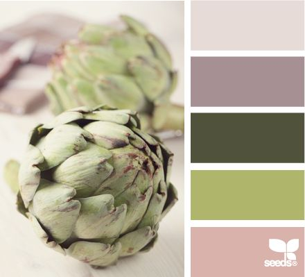 artichoke tones: Artichokes Tones, Spring Colors, Design Seeds Green, Colors Palettes, Artichokes Recipes, Colors Schemes, Ears September Wedding Colors, Artichokes Dips, Dips Recipes