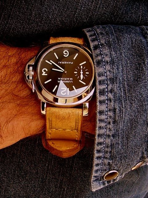 Panerai Luminor Marina. Vintage-looking band is a nice touch.