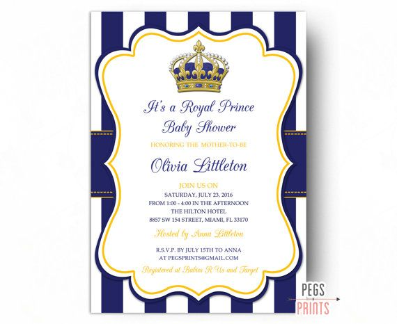 Royal Prince Baby Shower Invitations - Little Prince Baby Shower Invitation PRINTABLE - Royal Baby Shower Invitation - Gold Baby Shower