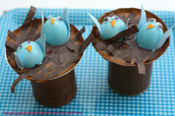 let's go fly a kite: Crafting with my kids: Bluebird Nests on Tin Can Stumps