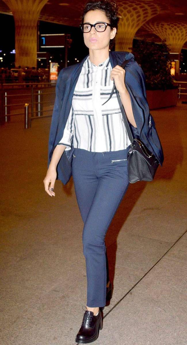 Kangana Ranaut at the airport. #Bollywood #Fashion #Style #Beauty