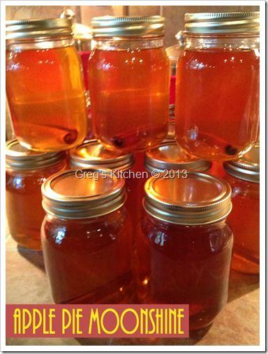 Apple Pie Moonshine◾1 gallon apple juice 1 gallon apple cider ◾8 cinnamon sticks ◾4 whole cloves ◾1 1/2 cup white sugar ◾1 1/2 cup brown sugar ◾1 quart moonshine or ever clear ◾2 teaspoons vanilla