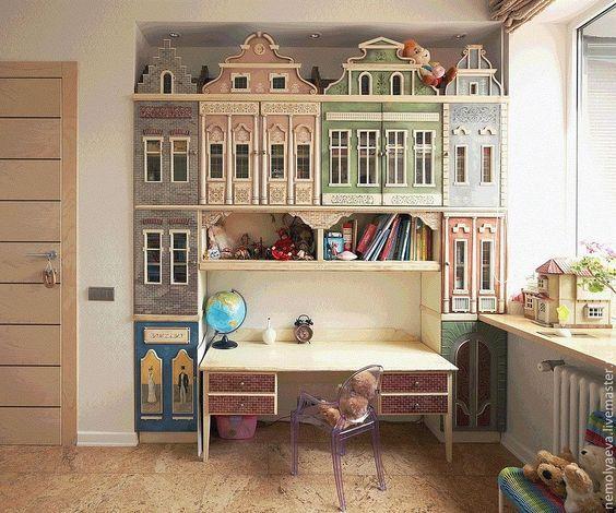 """Роспись стен и мебели в детской комнате. Шкаф """"Город"""" - мебель с росписью:"""