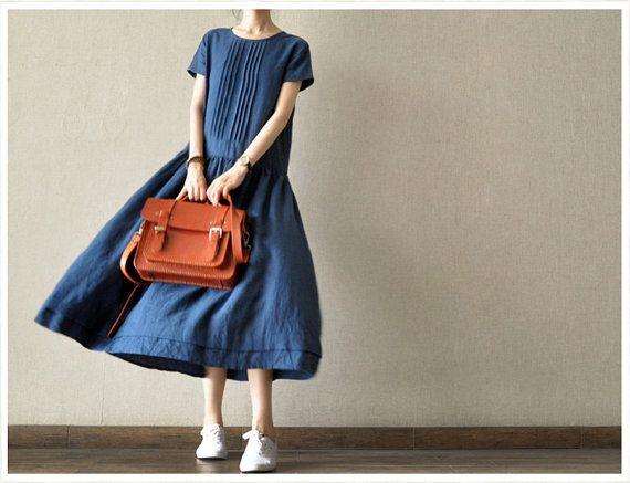 Loose Fitting Long Linen Maxi Dress - Summer Dress in Blue(R) - Short Sleeve Sundress for Women